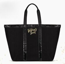 VICTORIA'S SECRET SPARKLE BLACK WEEKENDER BAG GETAWAY TRAVEL CARRY ON LARGE TOTE