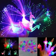 10x Kids LED Flashing Glow in Dark Finger Light Ring Xmas Party Favor Toy Decors