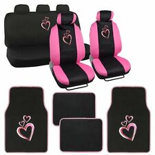 13 pc Love Story Combo Seat Cover Set w/ Front Seat Covers, Pink Hearts Design