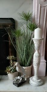 UPCYCLED grey antique white wooden church pillar candle holder candlestick 45cms