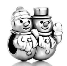 1Pcs Snowman Couples Ornaments Charms Silver bead For Bracelet/Necklace Chain