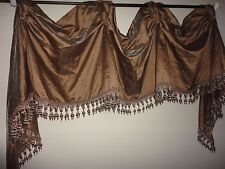 CHRIS MADDEN MYSTIQUE VICTORY BEADED FAUX SILK ASPEN GOLD (1) VALANCE 142X20