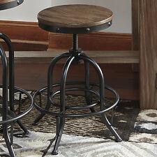 Bar Stools Set of 2 Swivel Adjustable Height Footrest Wood Seat Counter Chairs
