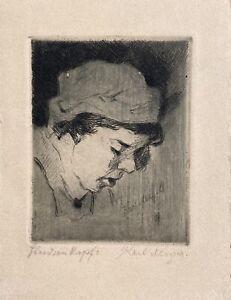 Woman Study Head Seitenprofil Portrait From Karl Mergell (1870-1944)