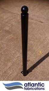 Steel  bollard, concrete in 76mm black ball top, parking post security