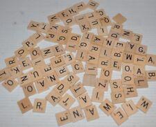 lot of 93 SCRABBLE wooden TILES Craft / Tournament (black letters)
