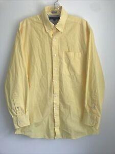 Tommy Hilfiger Regular Button Down Shirt 15 1/2 32-33 Yellow Gingham Plaid A5