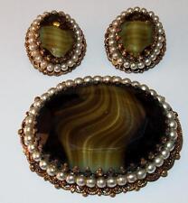 VINTAGE WEST GERMANY FILIGREE ART GLASS FAUX SEED PEARLS BROOCH EARRINGS SET
