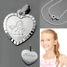 runder Baby Kinder Schutz Engel Anhänger mit Rundanker Kette 38 cm Silber 925