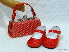 "2pc RED w/ SILVER Polka Dots DOLL SHOES & Clasp PURSE SET fits 18"" AMERICAN GIRL"