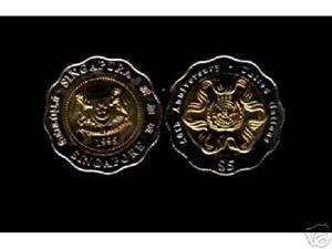 SINGAPORE 5 DOLLARS KM138 1995 UNC BI METAL UN 50th ANNY COIN LOT X 10 PCS