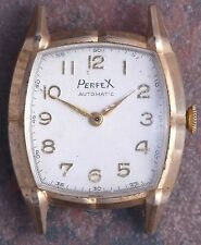 Perfex 50s Vtg Art Deco  Faceted Case Bump Automatic 17j AS 1250 Parts/Restore