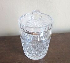Wedgwood cut crystal glass jam or honey pot, condiment jar