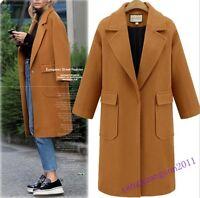 Wool Blend Womens Coat Overcoat Knee Long Lapel Button Winter Jacket Plus Size