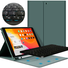 "Case Cover & Bluetooth Backlit Keyboard with Pencil Holder Kit For iPad 10.2"" US"
