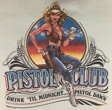 Vintage Mens L 80s Sexy Cowgirl Bartender Pistol Club Long Sleeve Work T-Shirt