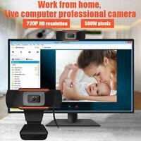 Webcam Auto Focusing Web Camera 720P HD Cam Microphone For PC Laptop Desktop US