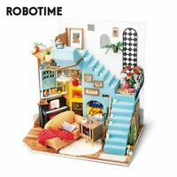 Rolife DIY Living Room Doll House with Wooden Miniature Furniture Kits LED Toy
