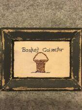 Primitive Tiny Sampler~Basket Collector~Tea Dyed Fabric~Folk Art