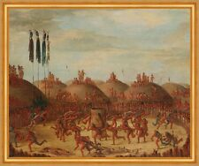 The Last Race, Mandan O-kee-pa Ceremony George Catlin Indianer Tanz B A2 01981