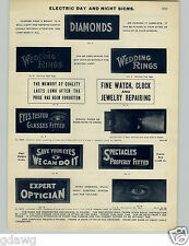 1905 PAPER AD Electric Flashing Diamonds Jewelery Eye Glass Specticle Trade Sign