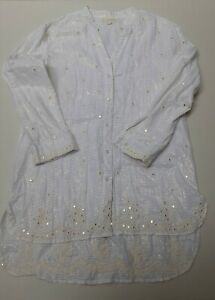 Ruby Yaya Blouse White with Mirror Sequins and Hand Embroidery and Gold Thread