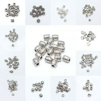 10/30/50pcs Tibetan Silver Tube Loose Spacer Beads Jewelry Making DIY Wholesale
