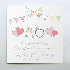 PERSONALISED ENGAGEMENT CARD RINGS HEARTS WITH NAME DATE LOCATION