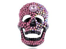 Color de rosa caliente cabeza de diamante de imitación de aleación de negro Calavera Feliz Anillo de Joyería del Dedo Ajustable