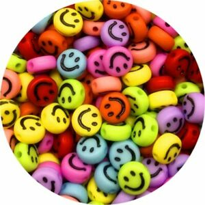 100pcs/Lot 7mm Smiley Beads Round Acrylic Spacer Beads For Jewelry Making DIY