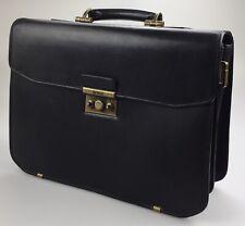 "Hartmann Black Belting Leather Lockable 16"" Expandable Briefcase Messenger Bag"