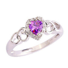 Fashion Silver Rose Sapphire Heart Wedding Engagement Claddagh Ring Size 9