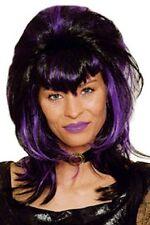 "Perruque ""Vamp"" noir et violet frange en pointe 11278219 fetes costume carnaval"