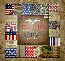 """ARMY, NAVY, AIR FORCE, MARINES, MILITARY PROUD TO SERVE SCRAPBOOK PAPER 12""""X12"""""""