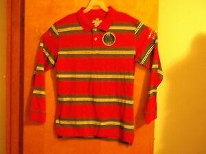 """NEW  BOY'S """"FADED GLORY""""CLASSIC RED & GREY  2 BUTTON L/S POLO SHIRT #6"""