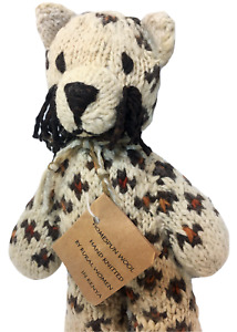 RARE Kenya HomeSpun Wool Leopard Plush Jaguar Cheetah Africa Plush Cat HTF 11""