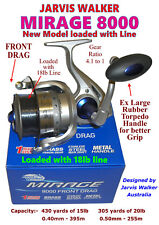 JARVIS WALKER MIRAGE 8000 REEL WITH LINE (new model with Soft Torpedo Handle)