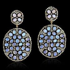 24.94ct Moonstone Diamond 14k Yellow Gold Dangle Earrings Silver Jewelry