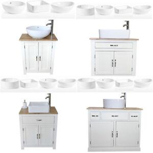 Bathroom Vanity Unit | Off White/Cream Oak Top Sink Cabinet | Ceramic Basin
