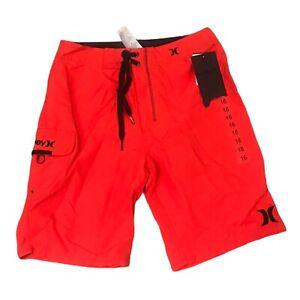 NWT$38 Hurley Youth Boy's Boardshorts Swim Daring Red Size 16/28 981032