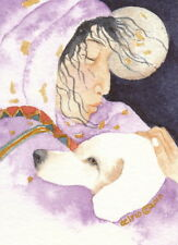 ACEO Giclee PRINT watercolor 2.5 x 3.5 mother healer spirit totem 'WHITE DOG'