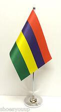 Mauritius Satin Flag with Chrome Base Table Desk Flag Set