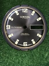Vintage NOS Cordura Sea-Gull Divers Watch Dial Blue Set With Hands Inside Bezel