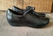 Clarks Women's Lace Up Walking Shoes - Size 7 M - Black Leather