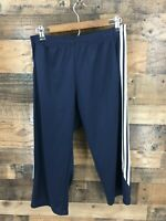 Adidas Women's Navy & White Cropped Warm Up Track Pants Size M