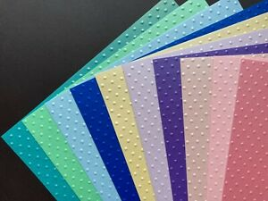A4 PEARLESCENT Card Embossed POLKA DOTS GREENS/BLUES/CREAM/PURPLES/PINKS