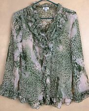 Jaipur Sheer Ruffled Sequined 3/4 Sleeve Accordion Pleats Blouse Size L