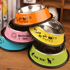 Stainless Steel Dog Bowl Pet Dog Cat Food Dish Feeder Outdoor Drinking Feeding