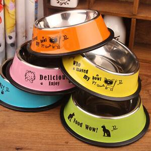 Stainless Steel Dog Bowl Pet Dog Cat Food Dish Feeder Outdoor Drinking Feeding