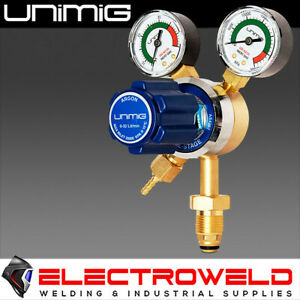 UNIMIG TWIN GAUGE ARGON GAS REGULATOR CO2 WELDING PRESSURE FLOW METER ARGONREG
